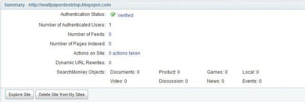 Gambar blog sudah verified yahoo dengan meta tag yahoo